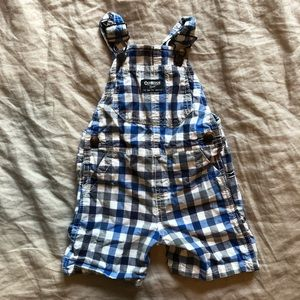Oshkosh Plaid Shorterall Overalls with Snaps